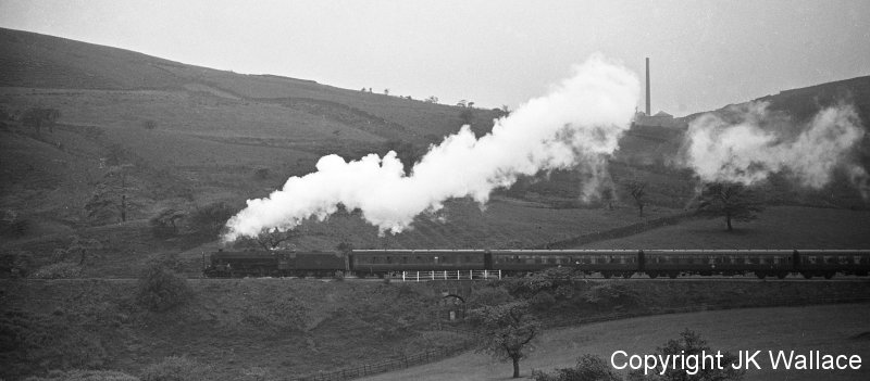 Excursion 1X38 Ravensthorpe Central WMC return excursion Blackpool North – Dewsbury Well Rd climbing out of Burnley 20.05 on Saturday 4 June 1966.