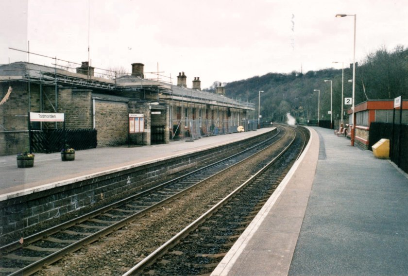 Todmorden Station looking towards Rochdale, showing scaffolding in place, on 10 April 2003.