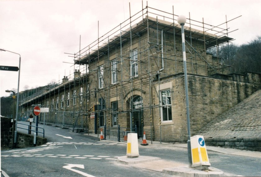 Exterior view of Todmorden station with scaffolding erected on 10 April 2003.