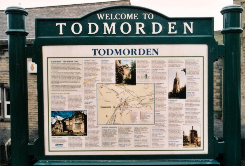 Welcome to Todmorden sign as seen outside Todmorden Station on 10 April 2003.