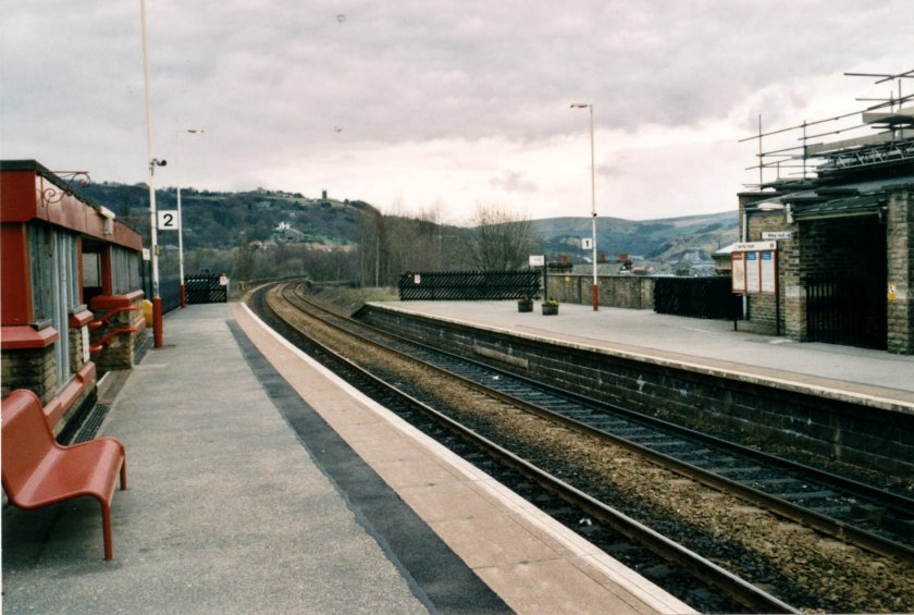 Todmorden Station from the platform end looking towards the viaduct and the future location of the new chord on 10 April 2003.