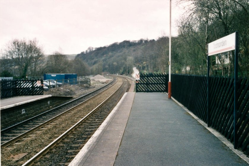 The view from the end of the platform at Todmorden Station looking towards Rochdale on 10 April 2003.