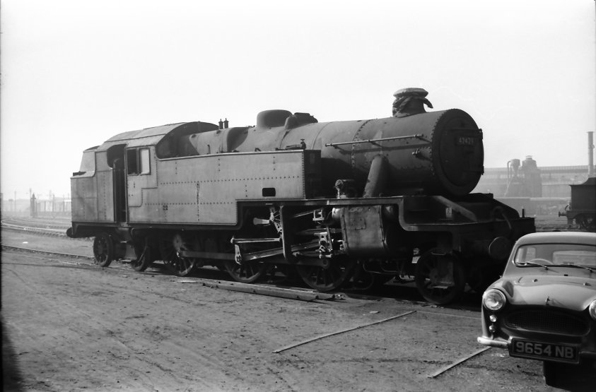 BR Stanier 4MT 2-6-4t in store at Gorton on 22 February 1962.