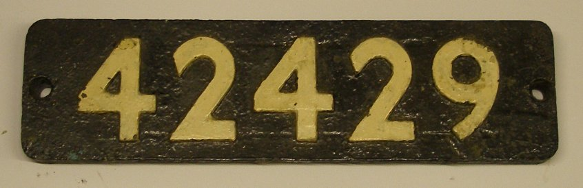 Number plate from BR Stanier 4MT 2-6-4T 42429 bought at an auction organised by BR at Southport Chapel Street station in 1964.