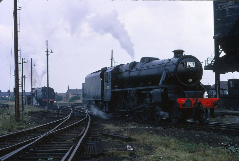 Stanier Black 5s 44871 and 44894 readied for 'End of Steam' specials at Rose Grove on Saturday 4 August 1968.