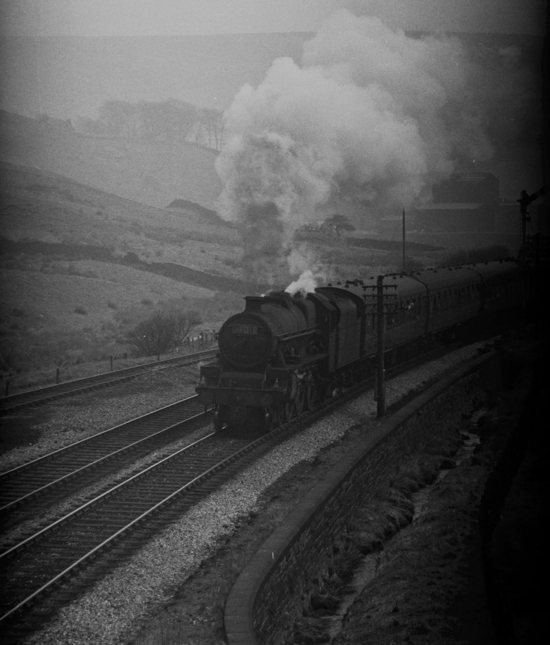 Stanier Jubilee 45562 'Alberta' approaching Copy Pit summit. Football excursion from Leeds city to Mill Hill Blackburn 13.10 Saturday 
