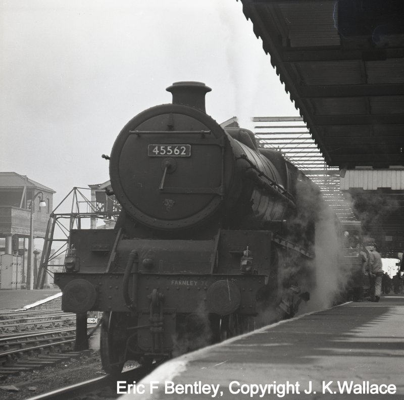 Stanier ex-LMS Jubilee 4-6-0 45562 'Alberta' from 55C Farnley Junction stands at Huddersfield with a Manchester-bound service.