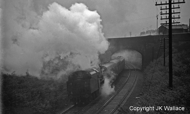 LMS (BR) Stanier Jubilee 45647 'Sturdee' hauling 1X37 Concrete North Ltd's return excursion Blackpool North – Leeds City leaving Gannow Junction (Burnley) after attaching banking loco at 21.00 hours in Saturday 4 June 1966.