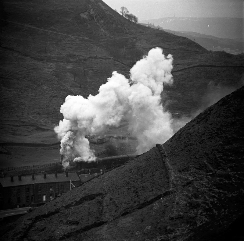 BR (LMS) Jubilee 45694 'Bellerophon' passing Cornholme between Todmorden and Copy Pit with 1X19 Castleford Central to Blackpool North on Easter Monday 11 April 1966.
