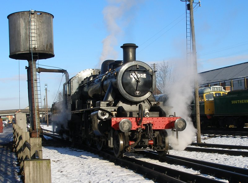 Ivatt Class 2MT 2-6-0 46521 at Loughborough Central on 30 December 2014. Three quarters front view from ground level.