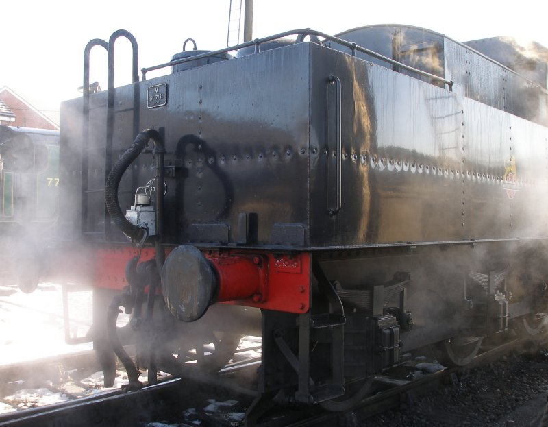 Ivatt Class 2MT 2-6-0 46521 at Loughborough Central on 30 December 2014. Three quarters rear view of tender.