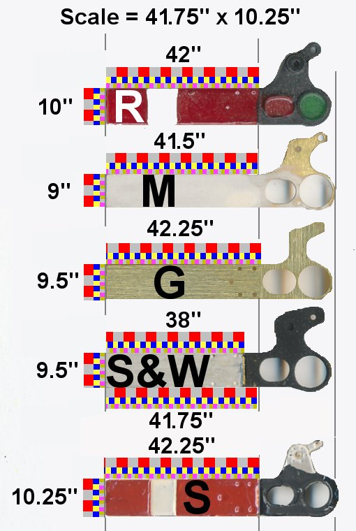 Comparison of common 4mm scale Upper Quadrant signal arms, including MSE, Alan Gibson, Spratt & Winkle and Scaleway