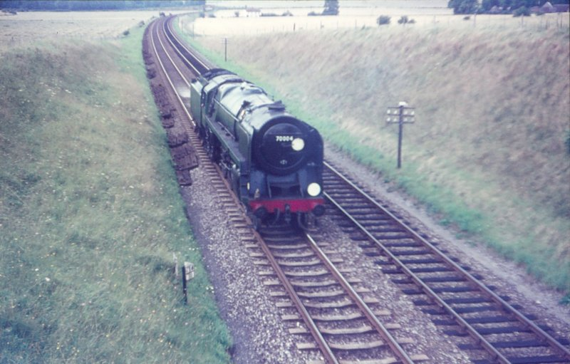BR Pacific 70004 'William Shakespeare' approaching Westbury on 14 August 1966 tender first.