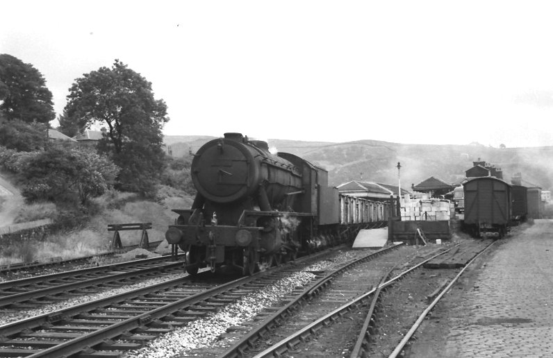 WD 90116 heads towards Manchester in 1966 with an unfitted coal haul, see from the western end of Todmorden Station Platform 1