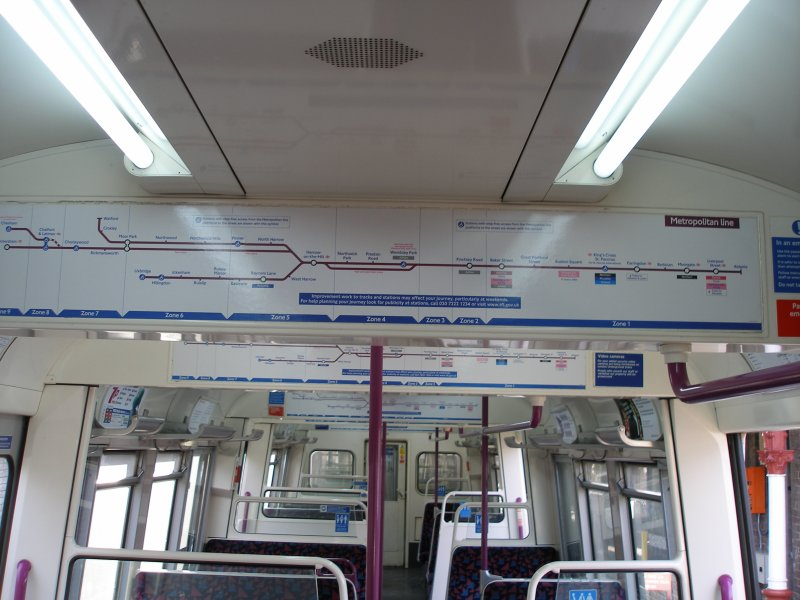 A60 stock interior as on 09 December 2010 showing Metropolitan Line route diagram