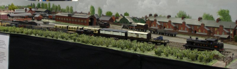 Guy William's Aylesbury (18.2mm gauge) showing the goods yard and 'steam shed' in the middle distance. For those who know the modern Aylesbury, this is the site of the modern B&Q DIY store.