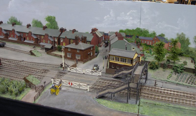 Close up of the signal box and level crossing
