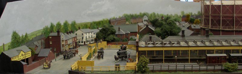 Guy William's Aylesbury (18.2mm gauge) showing the station buildings and canopy.