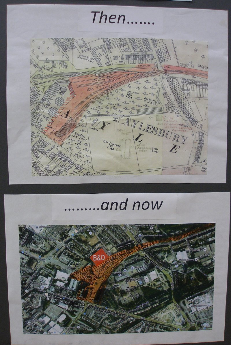 Guy William's Aylesbury (18.2mm gauge) showing the original site compared to modern mapping.