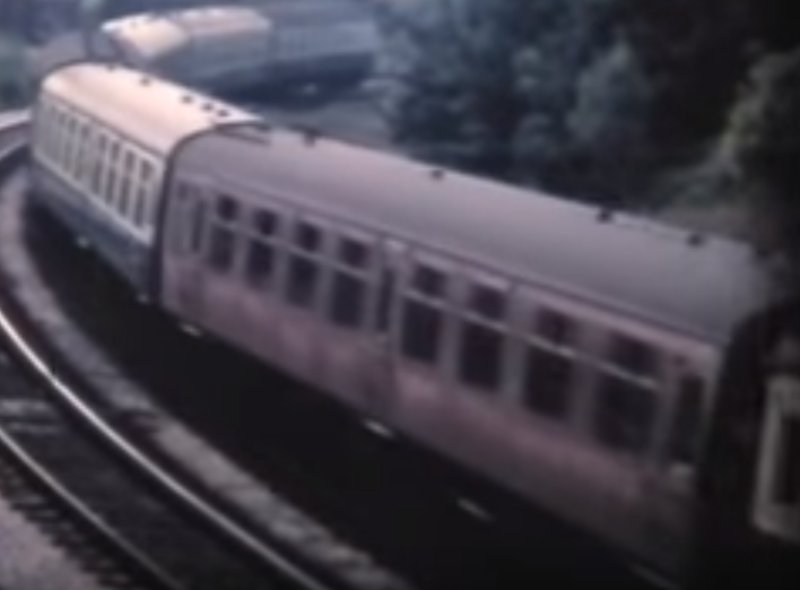 Screen grab from a David Ball cinefilm showing one of the last BR maroon carriages in service in the summer of 1972.