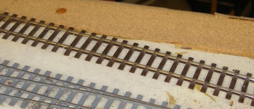 4mm C&L track laid on the base board, as bought