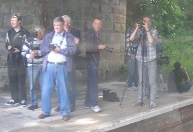 Photographers at Rainford Junction on the afternoon of 31 May 2014 recording the Topper Chopper.