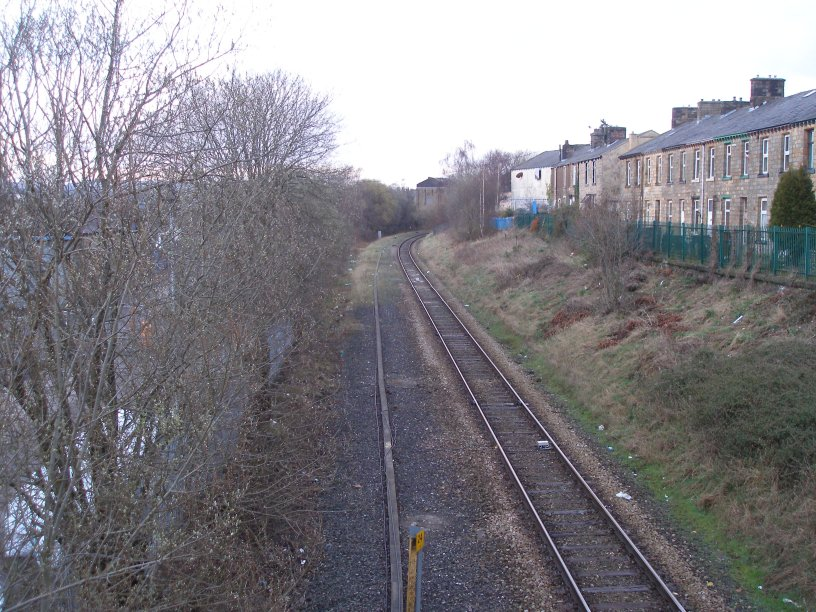 Brierfield Station footbidge Rose Grove - Colne branch 22 March 2014