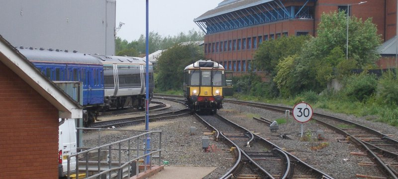 Class 121 on the depot access track at Aylesbury 18 May 2017