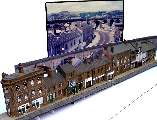 Burnley Road Shops, Todmordem: 4mm OO scale model and Prototype. Prototype photo Roger Birch