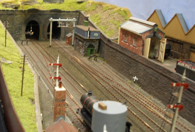 Calderwood L&YR 4mm scale model railway showing tunnel mouths