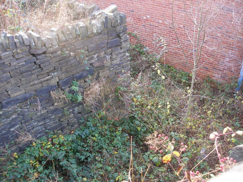 Clifton Colliery Tramway approach cutting to the bricked-up tunnel mouth under Clifton Road, Brighouse, West Yorkshire. 3 December  2016
