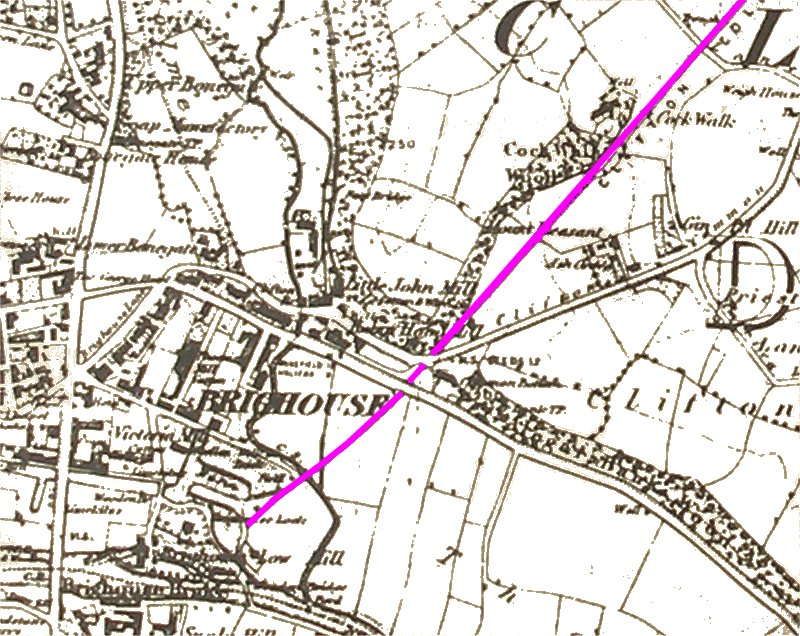 Extract from early map showing the Clifton Colliery Railway when it terminated at Ox Pit.