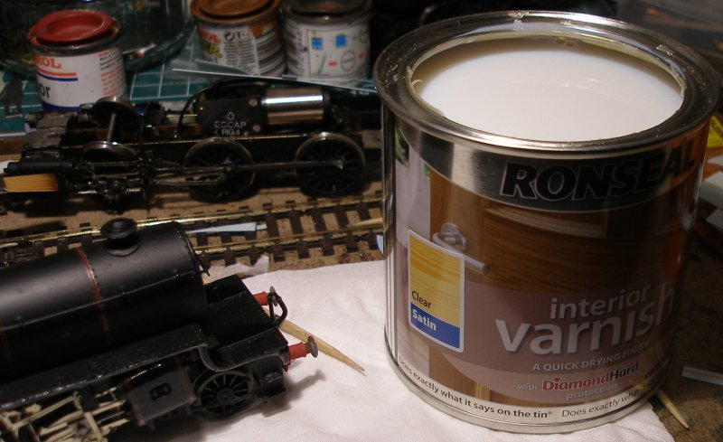 DJH Crab: Varnishing, the final solution. A tin of Ronseal satin varnish with lid removed.