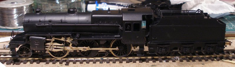 The DJH Crab kit now assembled, with the body sprayed matt black using car spray aerosols.