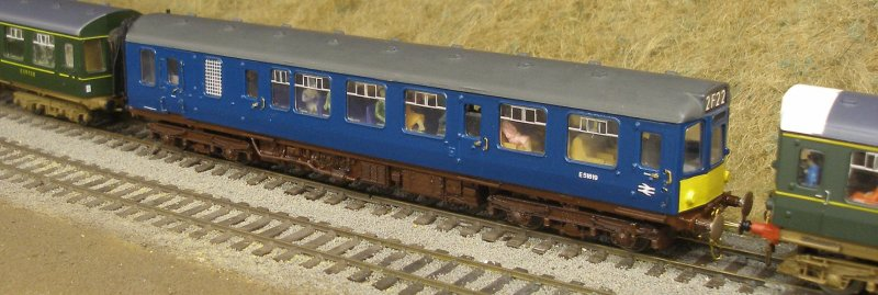 Model Class 110 painted in early BR Blue livery showing small pellow warning panel.