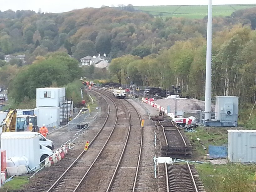 The Todmorden Curve construction office block, GSM-R mast and remains of the engineering sidings as photographed by David Greenfiewld in Novemver 2013