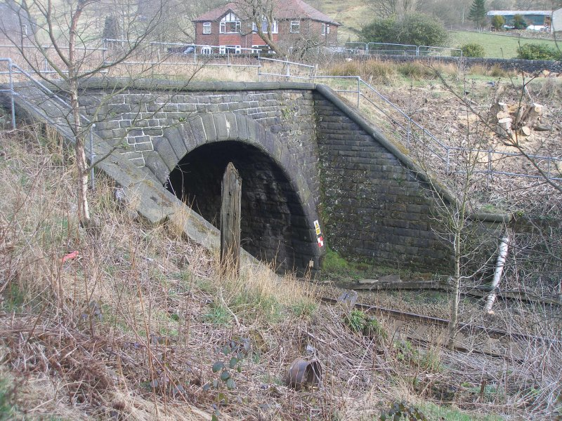 Dean Royd Tunnel (cut and cover) southern portal as photographed on 25 March 2016.
