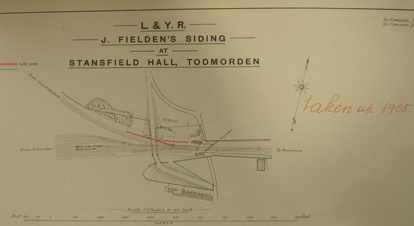 Lancashire & YTorkshire Railway Private Siding Diagram showing Hall Royd siding.