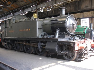 GWR Small Praire 2-6-2t inside the running shed at Didcot Railway Centre 6 May 2013