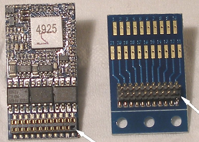 ESU adaptor alongside a sound decoder to show the mismatch of pins; both being in the same plain.