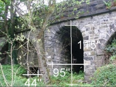 Eastwood subway and culvert dimensions in inches from a survey taken on 25 March 2016.