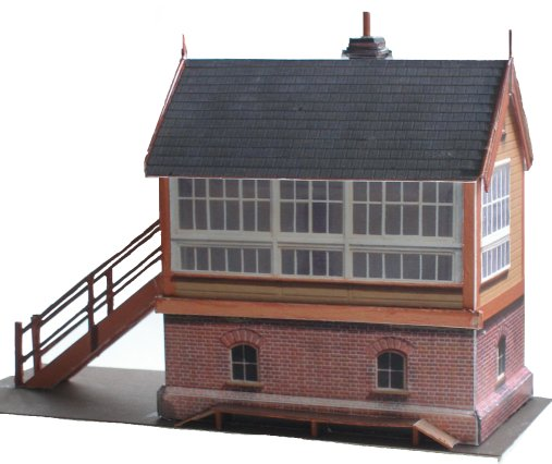 Three quarters view of LYR 4mm scale Size 6 brick based signal box in LYR colours