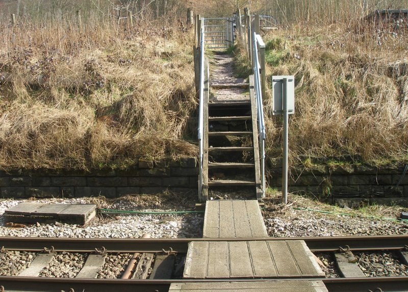 Calder Valley Main Line Light Bank Foot Crossing photographed on 25 March 2016