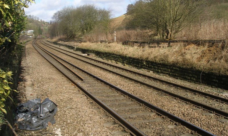 Calder Valley Main Line Light Bank Foot Crossing photographed on 25 March 2016 looking towards Leeds