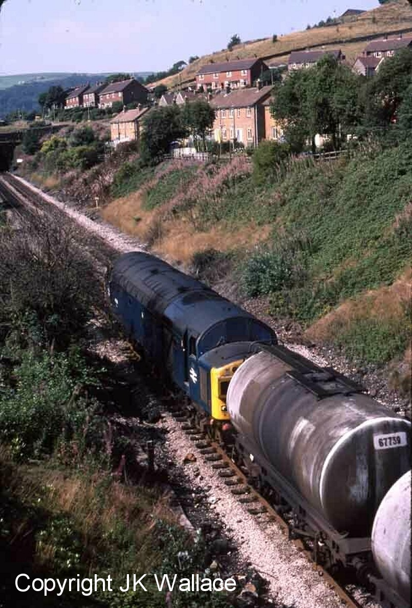 BR Class 40 40126 exits Castle Hill Tunnel and approaches Millwood Tunnel on 26 August 1983