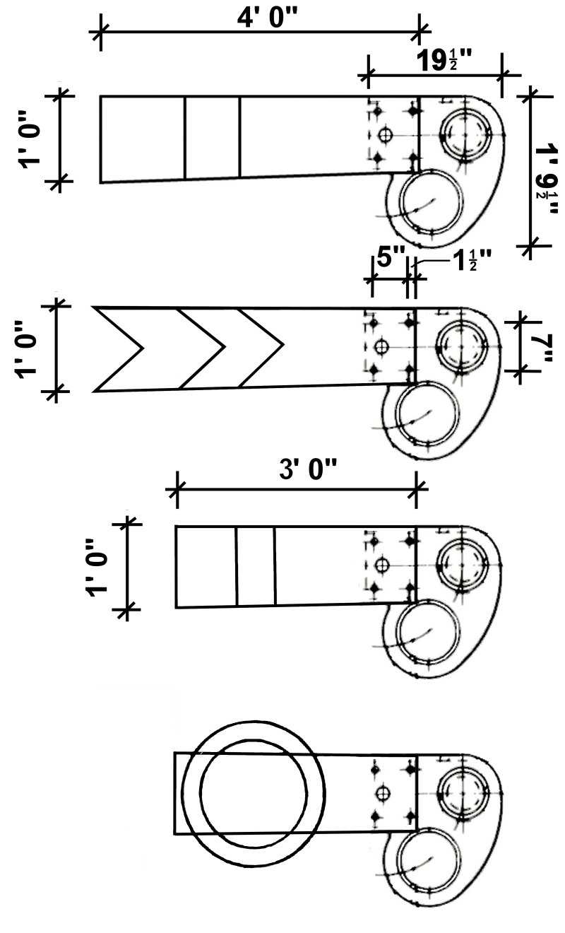 GWR folded edge signals: dimensioned drawings for Home, Distant, Shunting and Subsidiary (ringed) arms including blade and spectacle plate