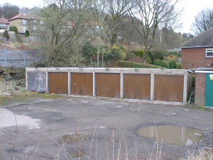 Prototype block of pre-cast concrete garages at Hall Royd