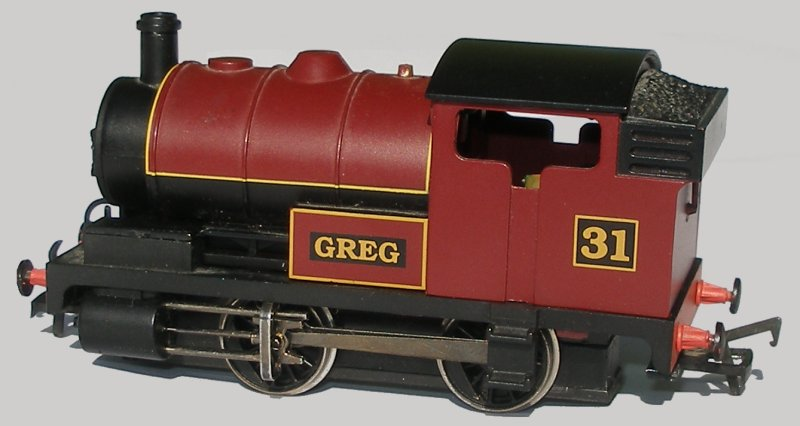 Bachmann starter-set loco 'Greg' with cab openings opened out.