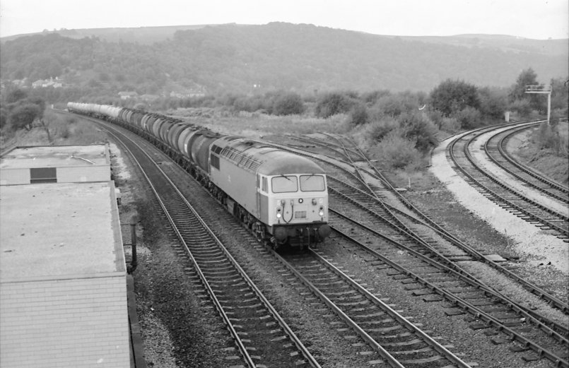 Class 56 56013 heads towards Yorkshire at Hall Royd Junction on 1 October 1984