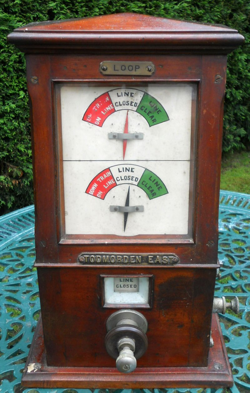 Hall Royd Junction signal box block instrument for the loops towards Todmorden East as it appeared in the Great Northern Railway Auction 7 October 2017.